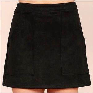 Lulus Black Faux Suede Mini Skirt